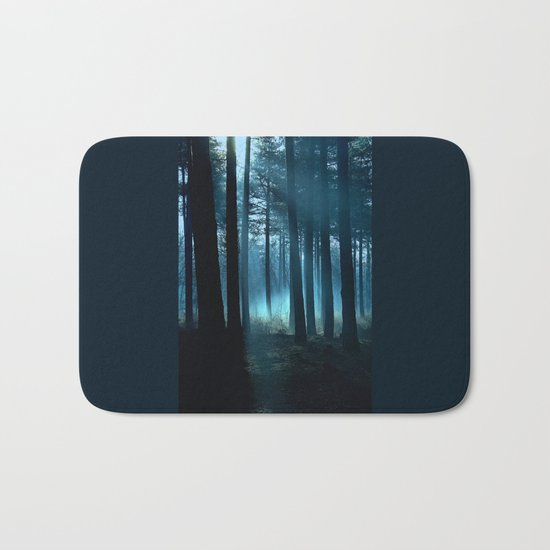 Haunted forest- winter mist in forest Bath Mat