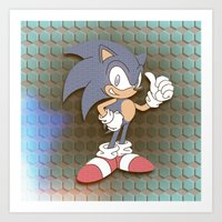 "sonic Art Prints featuring ""SONIC"" by Retro Zombie"