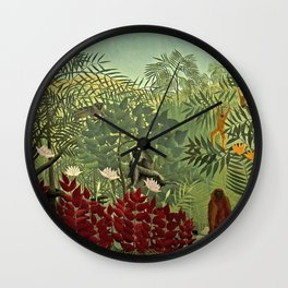Classical Masterpiece 'Tropical forest with monkey and snake' by Henri Rousseau Wall Clock