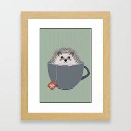 Holiday Tea Cup Hedgehog Framed Art Print