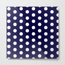 White dots in dark blue Metal Print