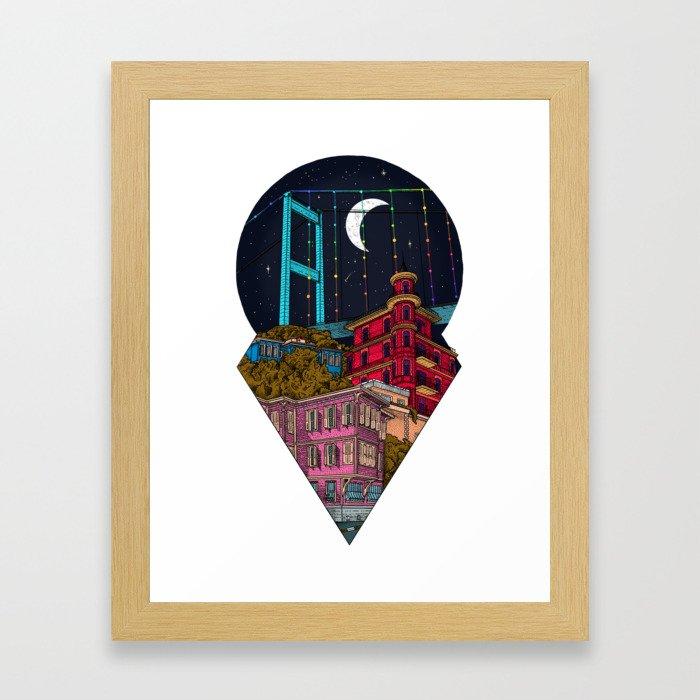 Night carries the lights Framed Art Print