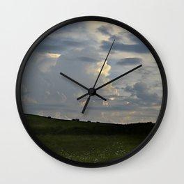 Sunset Cloudscape Rolling Hills Hay Rolls Wall Clock