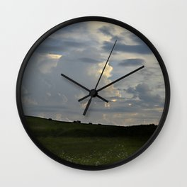 Sunset Cloudscape Rolling Hills Hay Rolls Wall Clock