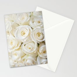 Elegant White Roses Stationery Cards