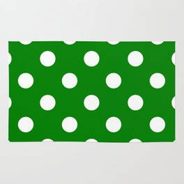 Polka Dots - White on Green Rug