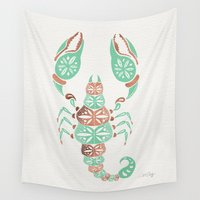 venom Wall Tapestries featuring Scorpion – Mint & Rose Gold by Cat Coquillette