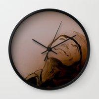 jack nicholson Wall Clocks featuring Jack Nicholson Graphite Original Portrait by Acorn