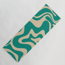 Liquid Swirl Retro Abstract Pattern in Mid Mod Turquoise Teal and Beige Yoga Mat