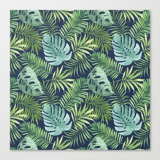 Tropical Branches on Dark Pattern 06 Canvas Print