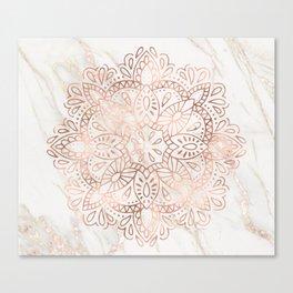Rose Gold Mandala Marble Canvas Print