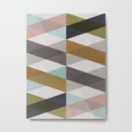 Geometric and colored bands Metal Print