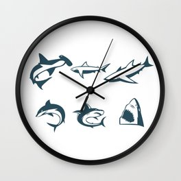 Types Of Sharks Wall Clock
