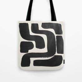 Black Ink Paint Brush Strokes Abstract Organic Pattern Mid Century Style Tote Bag