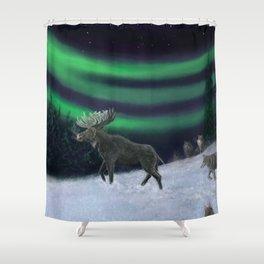 Northern Lights Moose Hunt Shower Curtain
