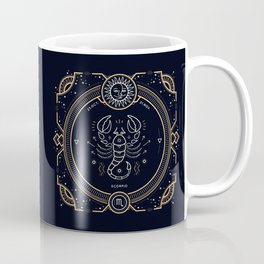 Scorpio Zodiac Golden White on Black Background Coffee Mug