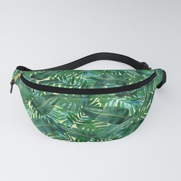Tropical Palm Tree Leaf Pattern - Yellow BG Fanny Pack