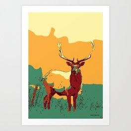 Buck Deer art, Deer Decor, Deer Print, Deer Painting, Deer Poster, Deer Wall Art, Animal Art Print. Art Print