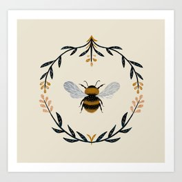 Ode to the Bumblebee (in cream) Art Print