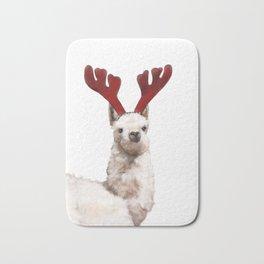 Christmas Baby Llama Reindeer Bath Mat