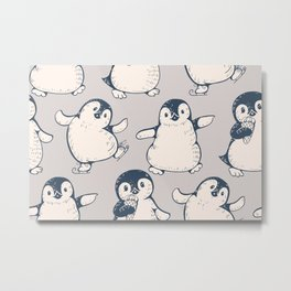 Monochrome seamless pattern with cute penguins. Hand-drawn illustration Metal Print