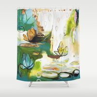 "flora bowley Shower Curtains featuring ""Rise Above"" Original Painting by Flora Bowley by Flora Bowley"
