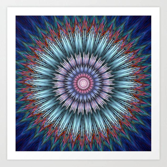groovy bloom in blue, pink, orange and turquoise Art Print