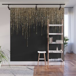 Luxury Chic Black Gold Sparkly Glitter Fringe Wall Mural