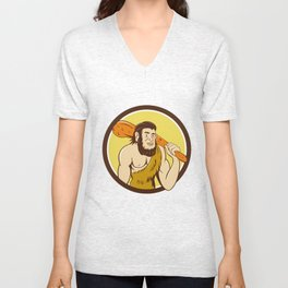Neanderthal Man Holding Club Circle Cartoon Unisex V-Neck