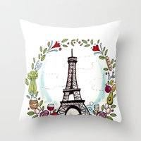 cooking Throw Pillows featuring French Cooking by Grace Anderson