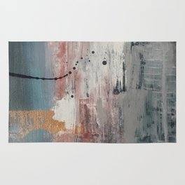 S'il Vous Plait: an abstract mixed-media piece in blue, gray, and gold by Alyssa Hamilton Art Rug