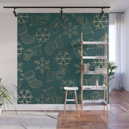 Forest green and faux gold foil Christmas snowflakes stockings Wall Mural