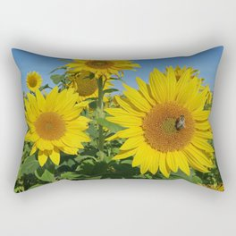 Large sunflower against blue sky in summer Rectangular Pillow