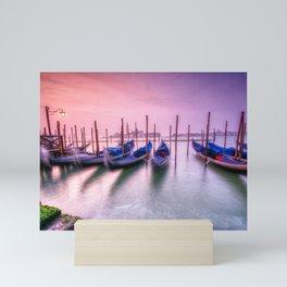 Gondolas moored by Saint Mark square, Venice, Italy, Europe. Mini Art Print