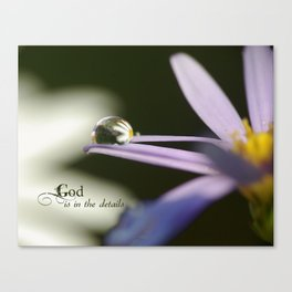 God is in the Details (macro drop) Canvas Print