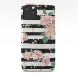 VINTAGE FLORAL ROSES BLACK AND WHITE STRIPES iPhone Case