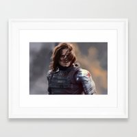 the winter soldier Framed Art Prints featuring Winter Soldier by LindaMarieAnson