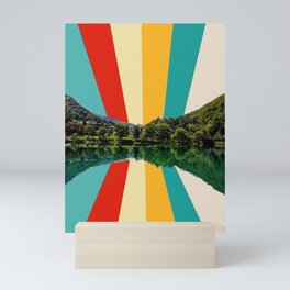 Slovenia River Reflection With Mid Century Rays Mini Art Print