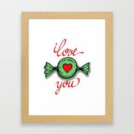 I love you (green) written in red Framed Art Print