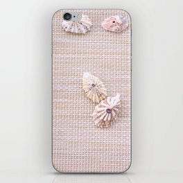Urchins and seashells nautical design on textured background. iPhone Skin