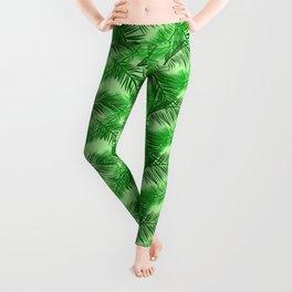 Palm Leaf Print, Emerald and Light Lime Green Leggings