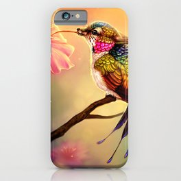 Gorgeous Colorful Fairytale Hummingbird Creature Licking Blossom Juice UHD iPhone Case