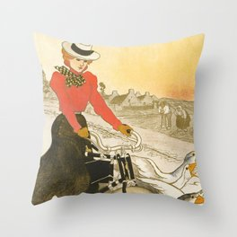 "Théophile Steinlen ""Motocycles Comiot"" Throw Pillow"