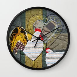 Hen & Rooster in grey Wall Clock