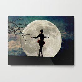 Ballerina Moon Teal Night Tree Modern Dance Art Girls Room Art A615 Metal Print