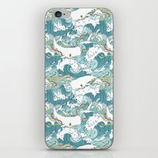 Whales and waves pattern iPhone & iPod Skin