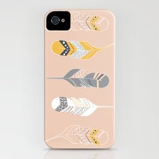 Multi Colored Feathers in Peach iPhone (4, 4s) Slim Case