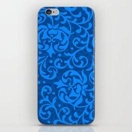 Blue Tudor Damask iPhone Skin