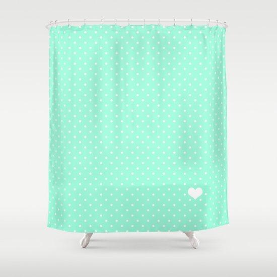 Mint Green and White Polka Dot Shower Curtain by katmun   Society6