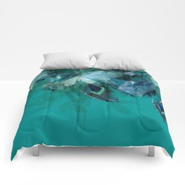 DREAMY FEATHERS & LEAVES - Deep Cyan Comforters